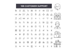 Customer support editable line icons
