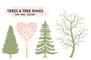 Trees & Tree Rings EPS & PNG