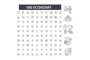 Economy editable line icons vector