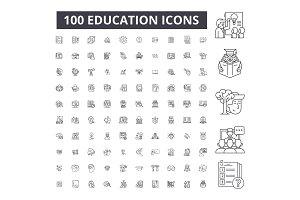 Education editable line icons vector