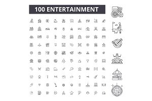 Entertainment editable line icons