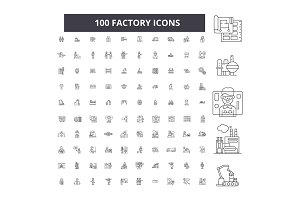 Factory editable line icons vector
