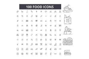 Food editable line icons vector set
