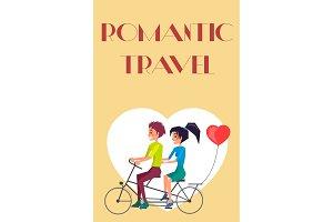Romantic Travel vector Couple Riding