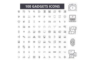 Gadgets editable line icons vector