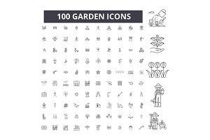 Garden editable line icons vector