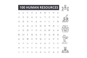 Human resources editable line icons