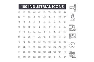 Industrial editable line icons
