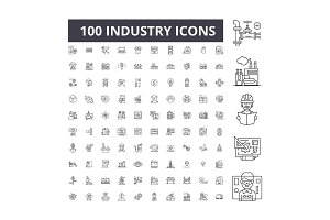 Industry editable line icons vector