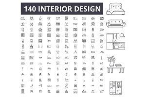 Interior design editable line icons