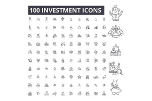 Investment editable line icons