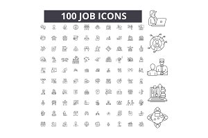 Job editable line icons vector set