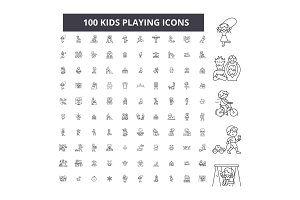 Kids playing editable line icons