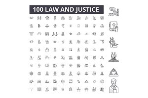 Law justice editable line icons
