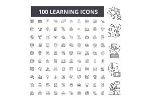 Learning editable line icons vector