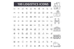 Logistics editable line icons vector