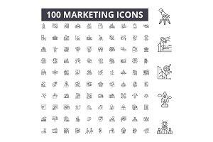 Marketing editable line icons vector