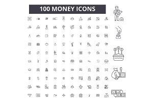 Money editable line icons vector set