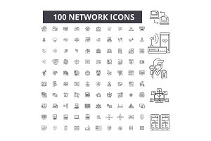 Network editable line icons vector