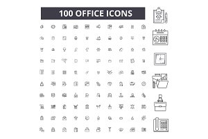 Office editable line icons vector
