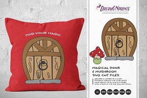 Magical Door & Mushroom SVG Vector