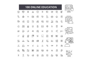 Online education editable line icons