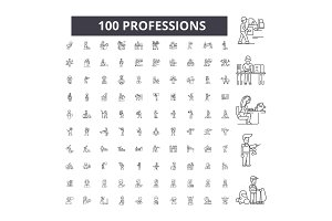 Professions editable line icons