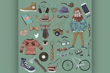 Colored hand-drawn Hipster style