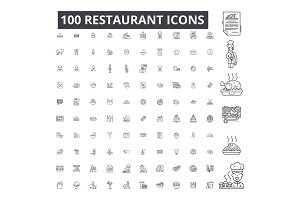 Restaurant editable line icons