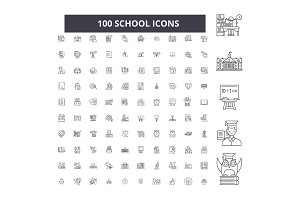 School editable line icons vector