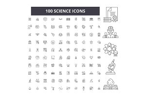Science editable line icons vector