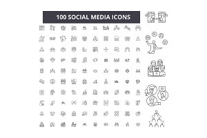 Social media editable line icons