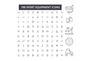 Sport equipment editable line icons