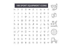 Sport equipment editable line icons