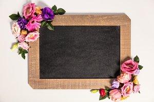 Summer flowers frame composition mad