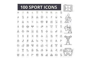 Sport editable line icons vector set