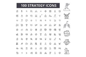 Strategy editable line icons vector