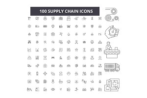 Supply chain editable line icons