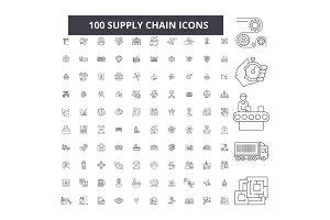 Supply chain editable line icons