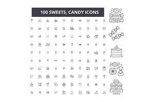 Sweets, candy editable line icons