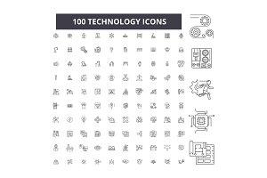 Technology editable line icons