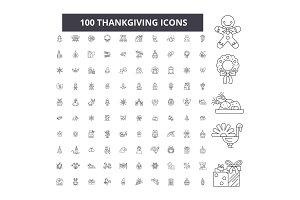 Thankgiving editable line icons
