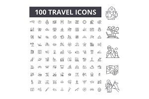Travel editable line icons vector
