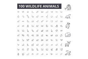 Wildlife animals editable line icons