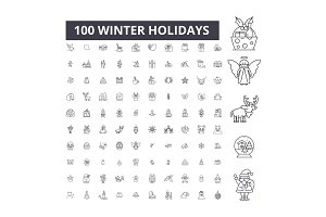 Winter holidays editable line icons