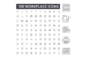 Workplace editable line icons vector