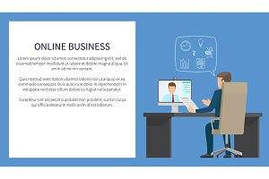 Online Business Banners Color Vector