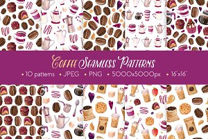 Coffee Watercolor Seamless Patterns