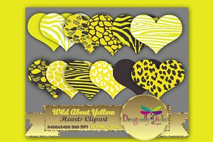 WILD About Yellow Hearts Clip Art