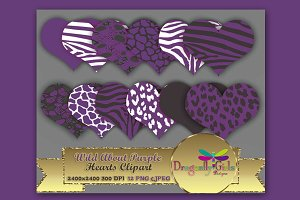 WILD About Purple Hearts Clip Art